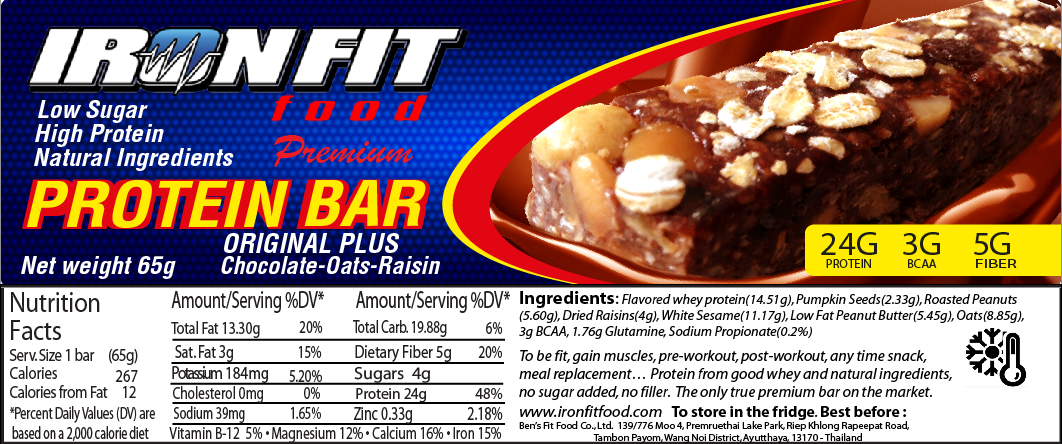 Iron Fit Food Original Protein Bar. Made in Thailand Natural Protein Bars