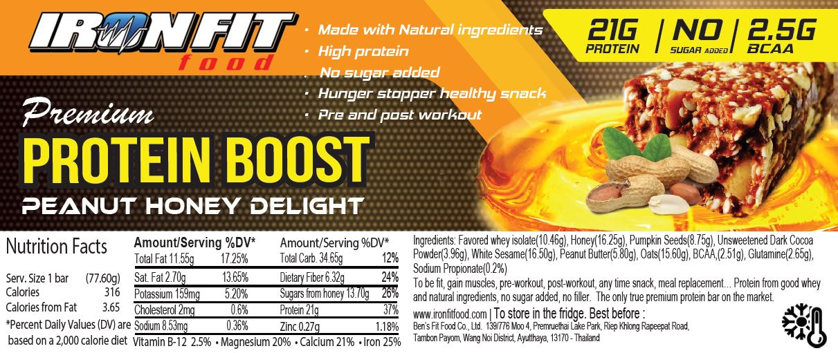 Protein boost Iron Fit Food, Made in Thailand Natural Protein bars